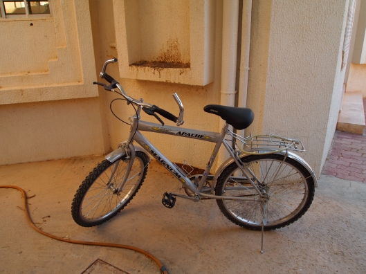 mohammed's bicycle in my rubble-filled courtyard