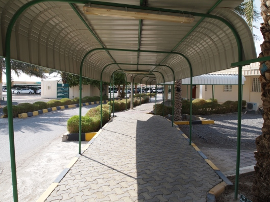 the covered walkways at the university of nizwa