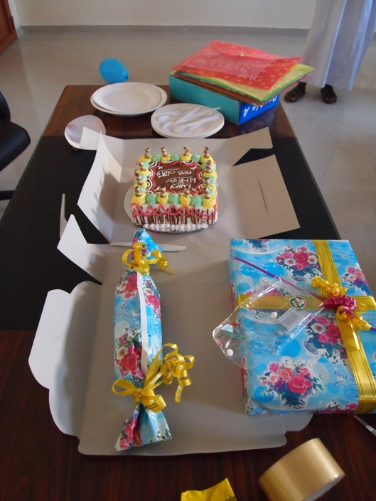 gifts and a cake from my students