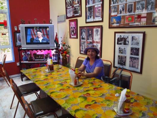 Kathy inside the Zanzibari Restaurant