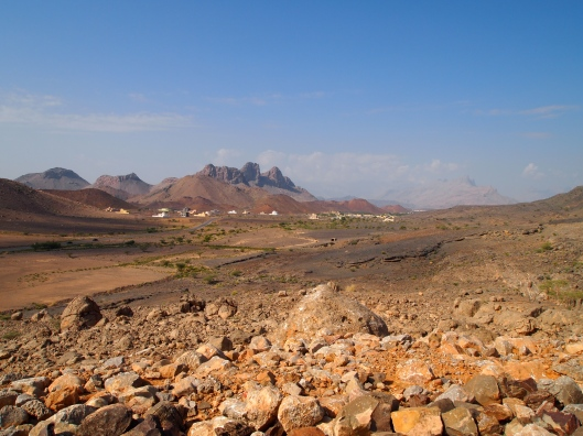 the view of the mountains leading up to Al Hoota Cave
