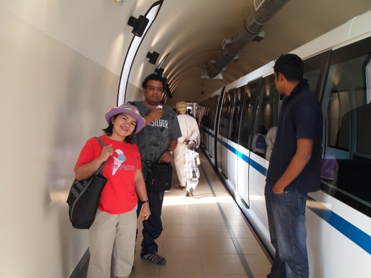 Kathy and Antonio getting on the train into Al Hoota Cave
