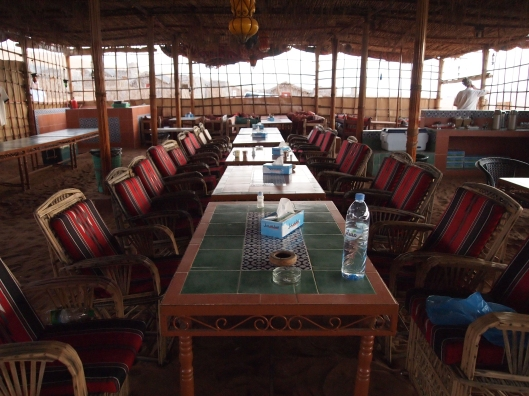 the dining room in the communal hut
