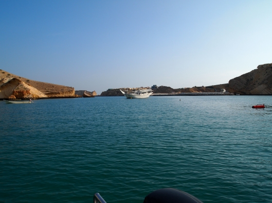 heading out in the boat from the Oman Dive Center