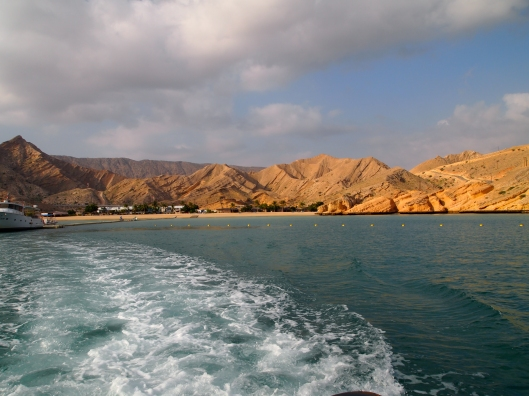 taking off in the boat from Oman Dive Center