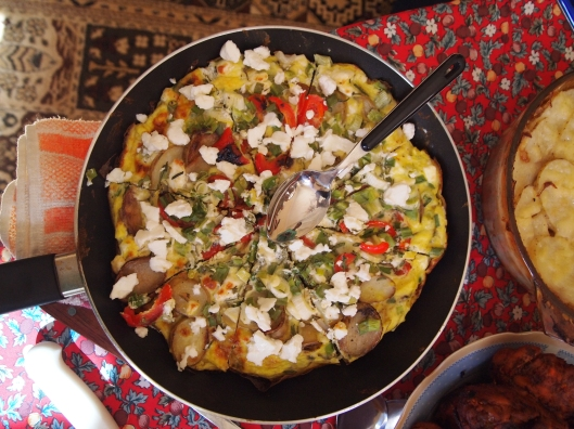 my goat cheese and red pepper frittata