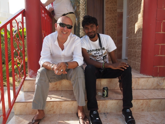 maurio & faraj on the steps of Marcia's villa
