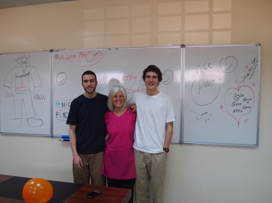 Alex, me and Adam in my classroom at University of Nizwa