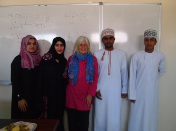 Thuraya, Shayma, me, Badr and Saud in January, University of Nizwa, Oman