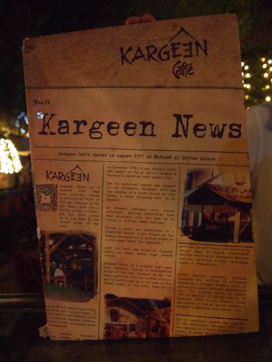 the menu at Kargeen Caffe