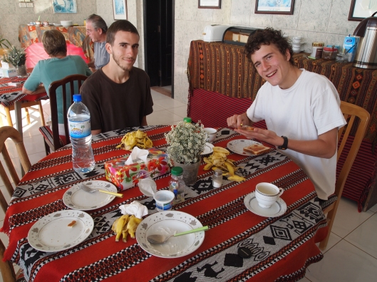 Alex & Adam at the breakfast buffet at Salalah Beach Villas