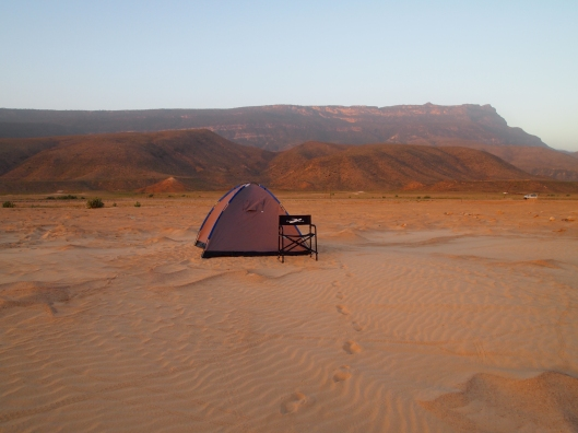 our tent set up on a beach near Mirbat