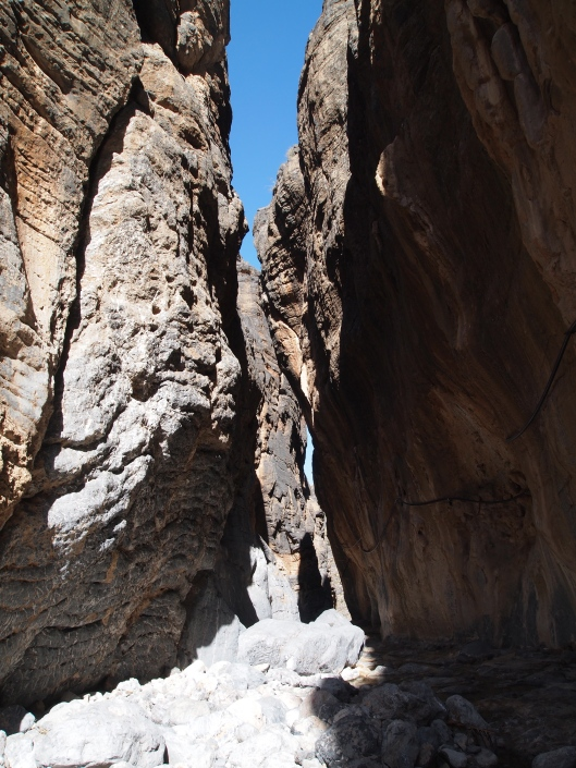 the narrow canyon leading to Balad Sayt