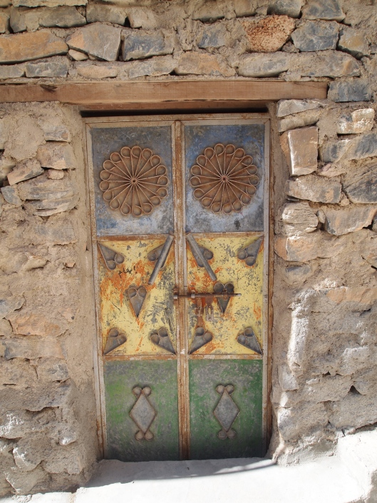 a colorful door in the village