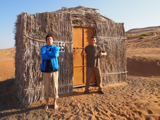 adam & alex in front of our barasti hut #55
