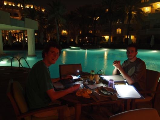 Adam & Adam poolside at the Grand Hyatt