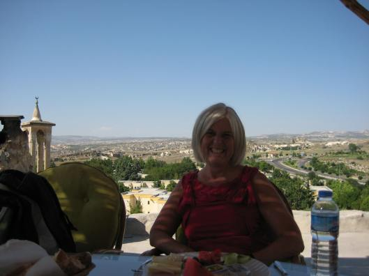 a rooftop breakfast in Cappadocia, Turkey