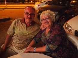 Malcolm & Sandy at the Turkish restaurant in NIzwa, Oman