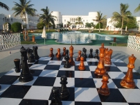 a chess game by the sea in Sohar, Oman