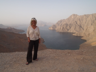 me on top of the ridge overlooking Khor an Najd in Musandam, Oman