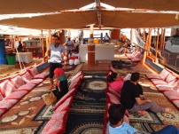 boarding the dhow in Musandam, Oman
