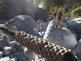 Alex in front and Adam in back in the BIG boulder-strewn Wadi Tanuf, Oman