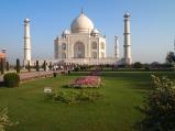 the green lawn at the Taj Mahal, Agra, India