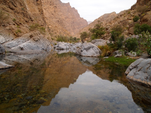 reflections in Wadi Muyadin in Oman