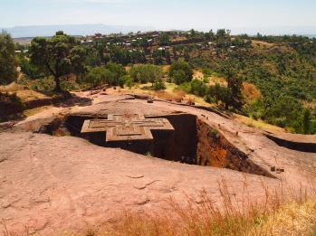 the rock-hewn masterpiece church of Bet Giyorgis in Lalibela, Ethiopia