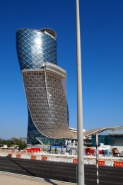 the leaning tower of Abu Dhabi: the 35-story Capital Gate Tower