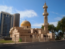 a mosque near the Central Marked souq in the midst of modernity