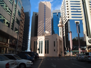 another mosque near the Central Market souq, dwarfed by skyscrapers