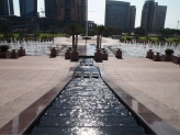 looking down the stepped fountain