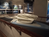 a model of the Performing Arts Center designed by Zaha Hadid, to be built on Saadiyat Island in Abu Dhabi
