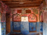 painted walls in one of the ruined houses at Wadi Bani Habib, Jebel Akhdar, Oman