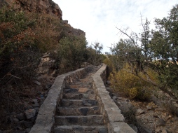 the steep steps up the promontory