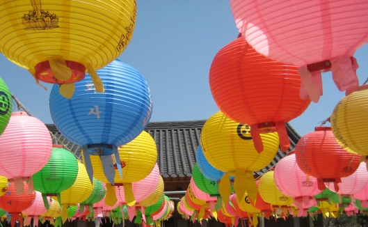 circular lanterns at a temple near Daegu, South Korea
