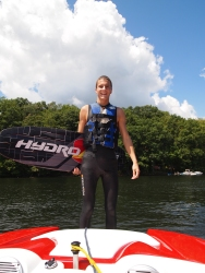 Adam ready to wakeboard in his wetsuit at Deep Creek Lake