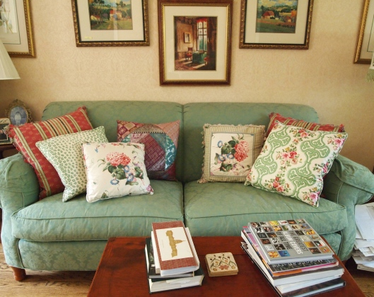my apple green damask sofa