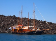 traditional boats in Santorini, Greece