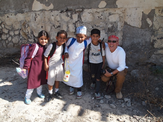 Mario & the children in the village near Al Rawdah Fort