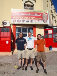 """Mike, Adam and Alex in front of the """"Restaurant."""""""