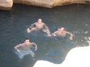Alex, Adam and Mike swimming in one of the pools