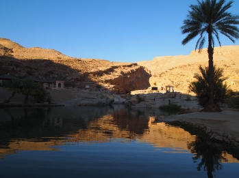 walking out of Wadi Bani Kalid as the sun goes down