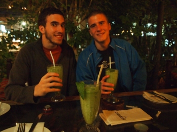 Alex & Adam drink lemon mint juice at Kargeen