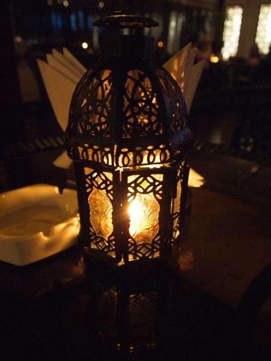 a lantern at a Muscat restaurant