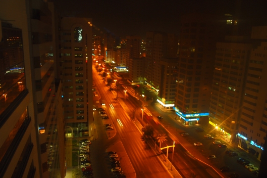 the streets of Abu Dhabi, UAE, at night