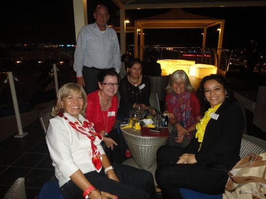 a group of us on the rooftop at Sama Terrazza.  From the left, a Spanish lady, Bert's wife, Bert, Anne, me and Neziha