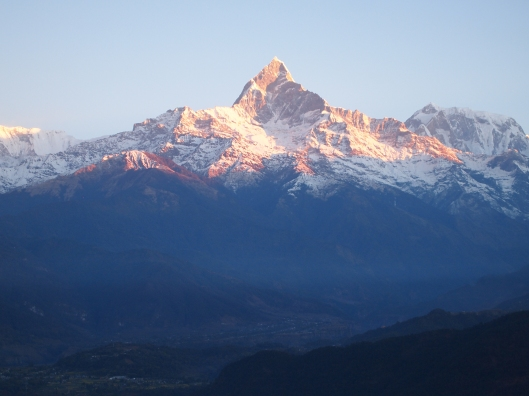 "Machhapuchhre, or ""Fish-Tailed"" at sunrise"