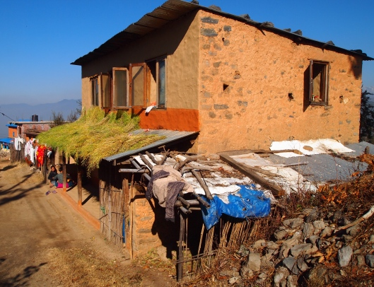 a Nepali rural home with mustard drying on the roof